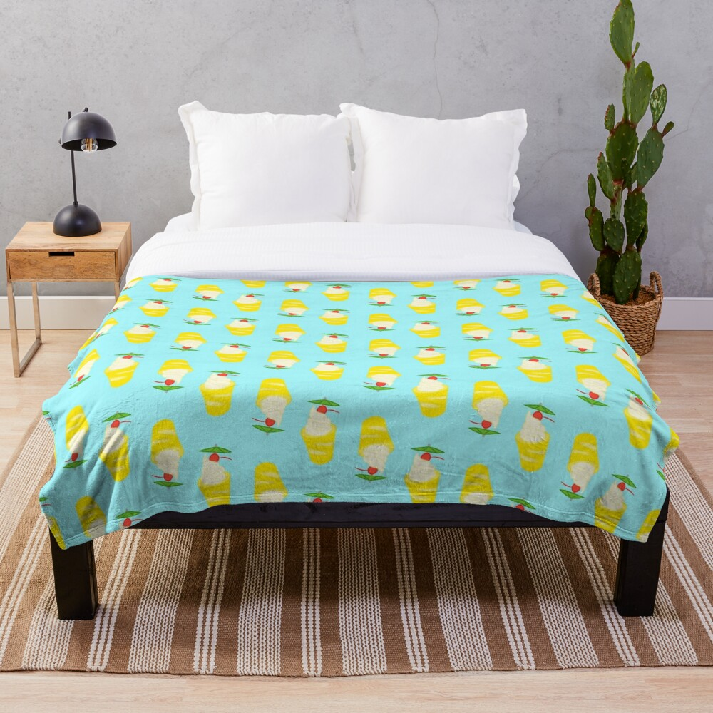 Summer Pineapple Float Throw Blanket