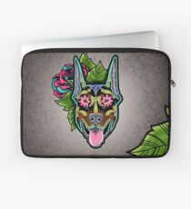 Doberman - Cropped Ear Edition - Day of the Dead Sugar Skull Dog Laptop Sleeve