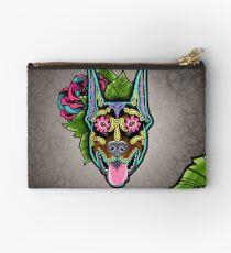 Doberman - Cropped Ear Edition - Day of the Dead Sugar Skull Dog Studio Pouch