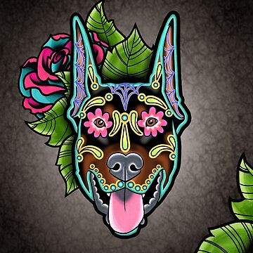 Doberman - Cropped Ear Edition - Day of the Dead Sugar Skull Dog by prettyinink
