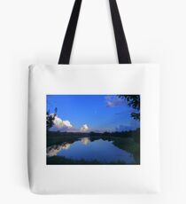 Edited view over across a pond Tote Bag