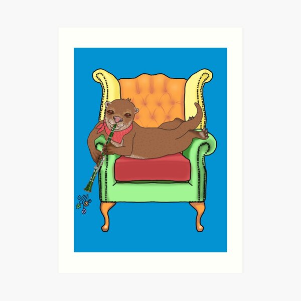 Otter plays Clarinet in a Wing backed Arm chair Art Print