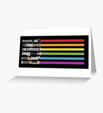 Lightsaber Rainbow Greeting Card