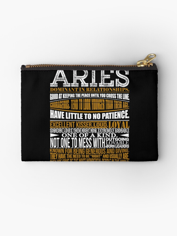 'Aries Meaning Shirt' Zipper Pouch by WarmfeelApparel