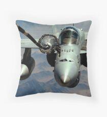 An F/A-18C Hornet receives fuel from the drogue of a KC-10 Extender. Throw Pillow