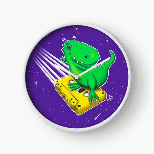 Surfing old school - Horst the T-Rex in space Clock
