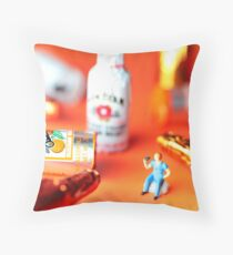 Drinking Among Liquor Filled Chocolate Bottles Throw Pillow
