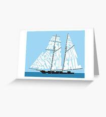 Tarjeta de felicitación Tops'l Schooner Sail / Spar Plan