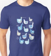 Folk Birds Blue by Katy Bloss T-Shirt