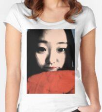 BEAUTIFUL FUNNY ASIAN GIRL POP ART COLOR Women's Fitted Scoop T-Shirt
