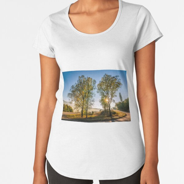 mountain curve road near the forest Premium Scoop T-Shirt