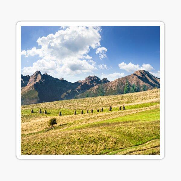 Rural fields near the high mountains Sticker