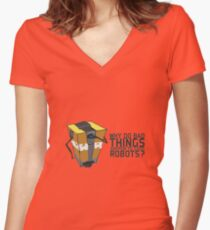 ClapTrap Troubles Women's Fitted V-Neck T-Shirt