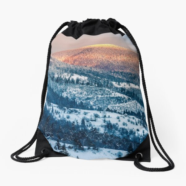 sunrise in winter carpathians Drawstring Bag