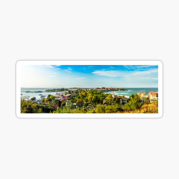 boats in port of Sozopol  at sunset Sticker