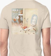 Randolph Caldecott, a dish, spoon, and other utensils are anthropomorphized while a cat in a red jacket holds a fiddle in the manner of a string bass. Unisex T-Shirt