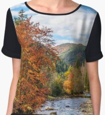 Mountain river in autumn forest Chiffon Top