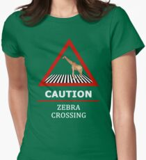 Zebra Crossing Road Sign Womens Fitted T-Shirt