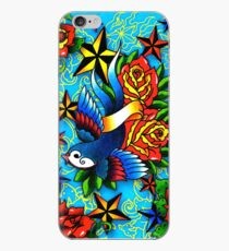 Traditional Swallow & Rose Tattoo iPhone Case