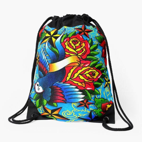 Traditional Swallow & Rose Tattoo Drawstring Bag