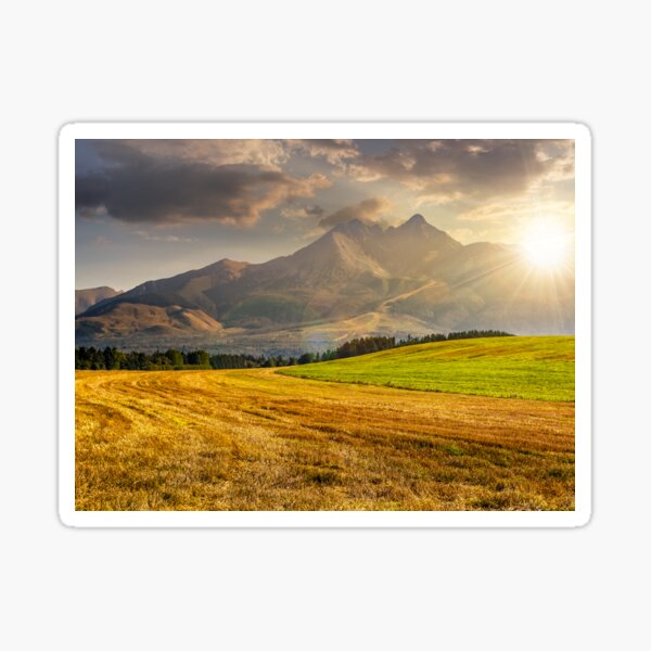 rural field in Tatra mountains  at sunset Sticker
