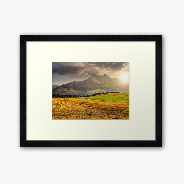 rural field in Tatra mountains  at sunset Framed Art Print
