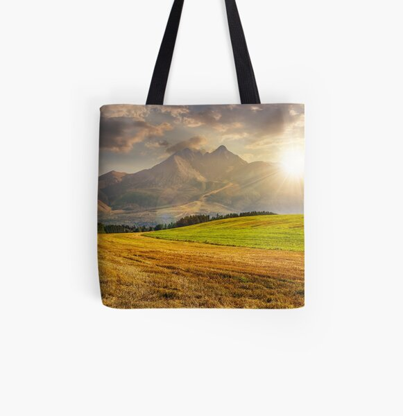 rural field in Tatra mountains  at sunset All Over Print Tote Bag