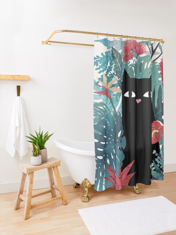 Alternate view of Popoki Shower Curtain
