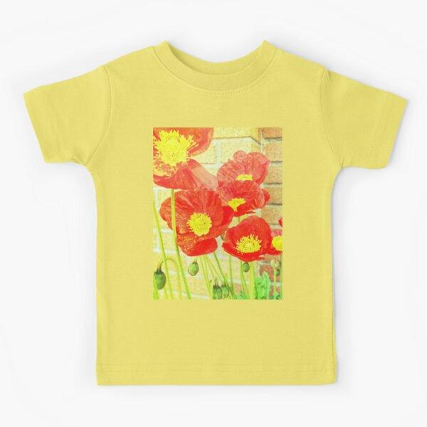 Poppyfied - Bright Yellow and Red Poppies - Flower Art Photo Kids T-Shirt