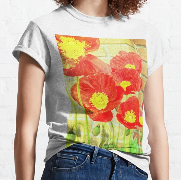 Poppyfied - Bright Yellow and Red Poppies - Flower Art Photo Classic T-Shirt