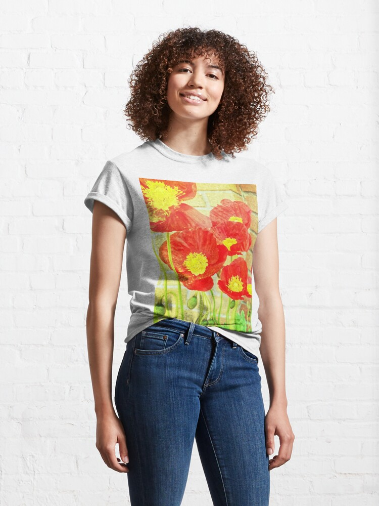 Alternate view of Poppyfied - Bright Yellow and Red Poppies - Flower Art Photo Classic T-Shirt
