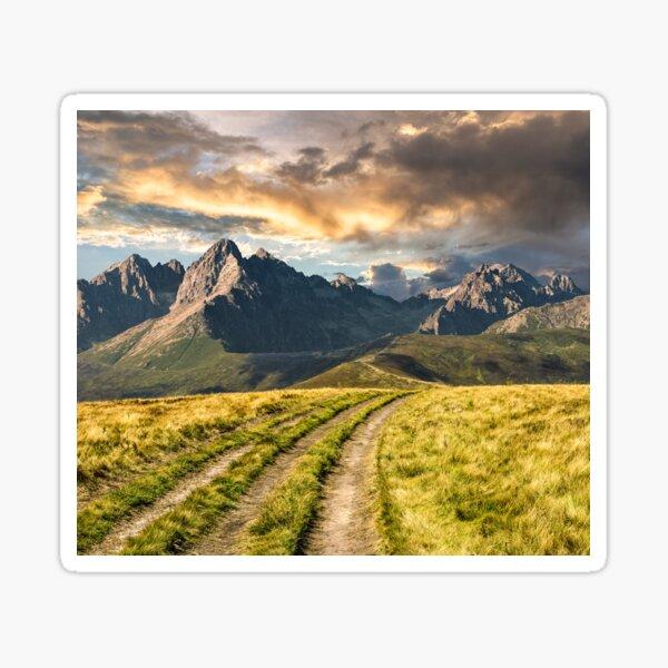 Path through the meadow to Tatra mountains Sticker