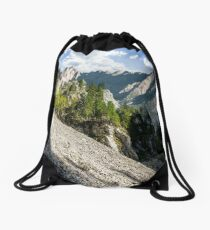 Rocky canyon with spruce trees Drawstring Bag