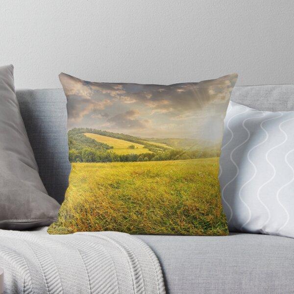 rural field near forest at hillside at sunset Throw Pillow