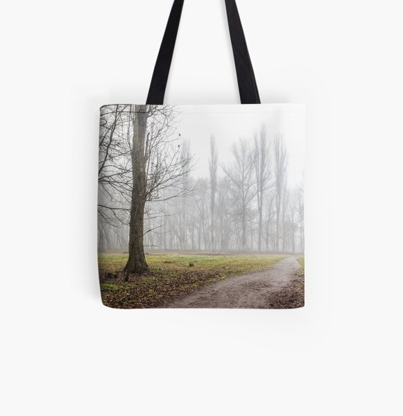 autumn park in fog All Over Print Tote Bag
