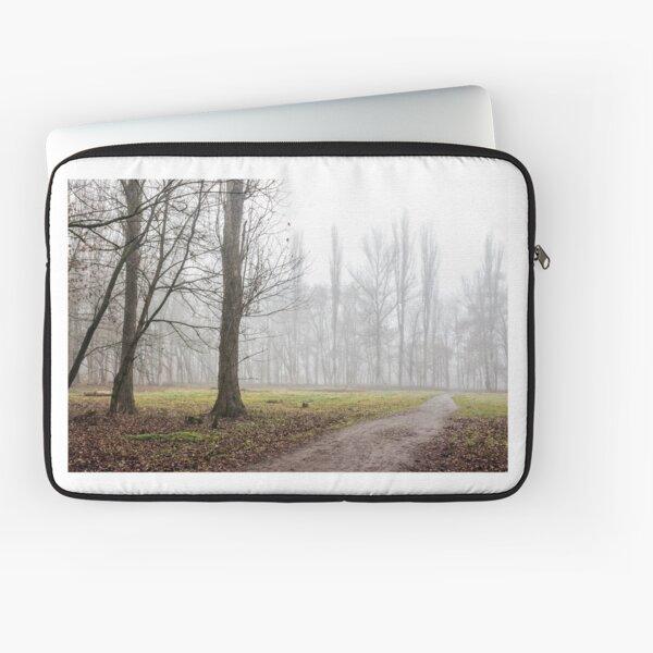 autumn park in fog Laptop Sleeve