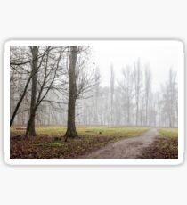 autumn park in fog Sticker