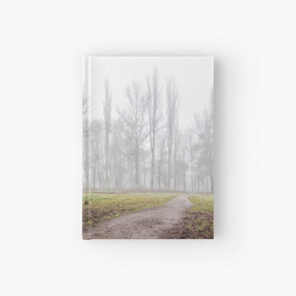 autumn park in fog Hardcover Journal