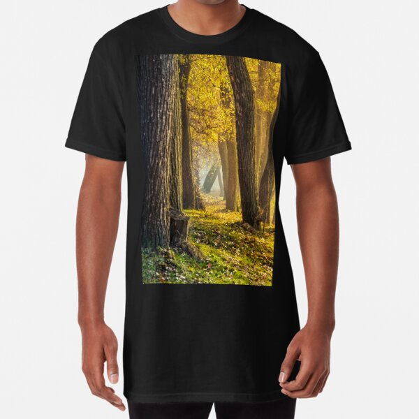 forest in foliage on sunny autumn day Long T-Shirt