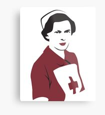 Retro Red Cross Nurse Metal Print