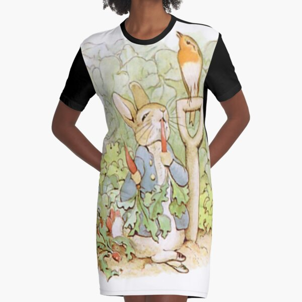 PETER RABBIT, Nursery Characters, Peter Rabbit, eating radishes, The Tale of Peter Rabbit. Graphic T-Shirt Dress