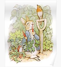 PETER RABBIT, Nursery Characters, Peter Rabbit, eating radishes, The Tale of Peter Rabbit. Poster