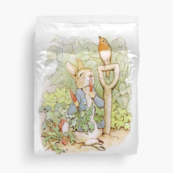 PETER RABBIT, Nursery Characters, Peter Rabbit, eating radishes, The Tale of Peter Rabbit. Duvet Cover