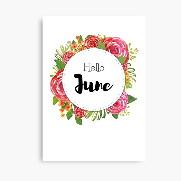 Hello June - monthly cover for planners, bullet journals Canvas Print