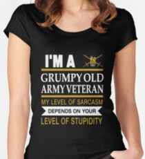 I'm A Grumpy Old Army Veteran My Level Of Sarcasm Depends On Your Level Of Stupidity Uk British T-shirts Women's Fitted Scoop T-Shirt