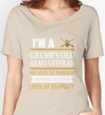 I'm A Grumpy Old Army Veteran My Level Of Sarcasm Depends On Your Level Of Stupidity Uk British T-shirts Women's Relaxed Fit T-Shirt