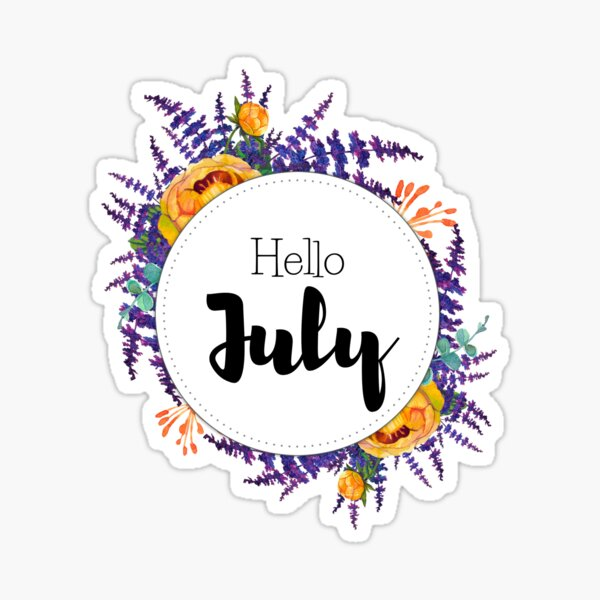 Hello July - monthly cover for planners, bullet journals Sticker
