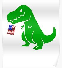 T Rex USA Flag Shirt 4th of July for Boys Girls Men Women Poster