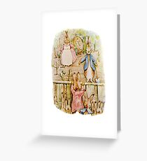 Nursery Characters, Grown up Peter in his nursery garden, The Tale of The Flopsy Bunnies Greeting Card