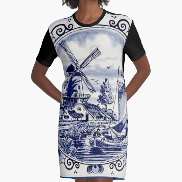 DUTCH BLUE DELFT: Vintage Windmill Print Graphic T-Shirt Dress